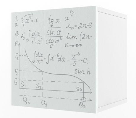 Полка куб с фасадом печать Формулы Ньютон Грэй