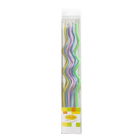 Свечи макарунс нежная радуга спираль тонкая