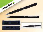 Ручка шариковая металлическая в футляре, синие чернила, черный корпус (арт. S 2854)