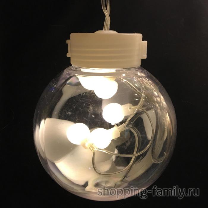 Светодиодная гирлянда-штора в виде ламп, 3 м, Цвет Белый тёплый