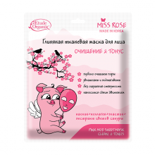 MISS ROSE  Глиняная тканевая маска для лица очищение и тонус  25 г