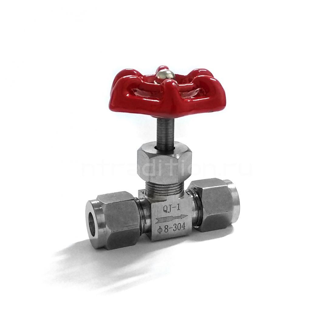 Игольчатый кран с цанговым зажимом под трубку 8 мм (нержавейка)