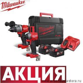 Набор M18 FUEL FPP2A2-502X Дрель-шуруповерт плюс Винтоверт плюс Аккумулятор 2 шт и зарядное устройство в кейсе Milwaukee 4933464268