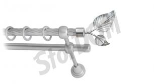 Карниз металлический круглый двухрядный витой сатин МК 022 наконечник Лист