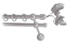 Карниз металлический круглый двухрядный витой сатин МК 026 наконечник Фиговый лист