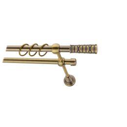 Карниз металлический круглый двухрядный гладкий антик  МК 021 наконечник Мозайка