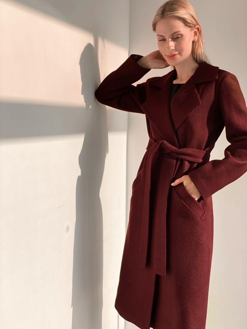 s3821 Пальто классическое в цвете burgundy