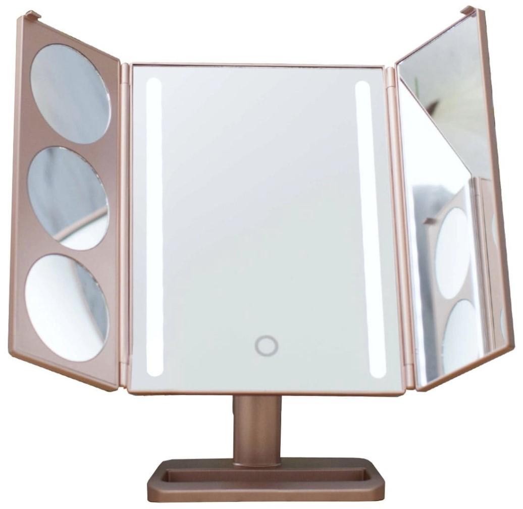Зеркало GESS uLike Gold с подсветкой настольное складное