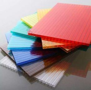 """Поликарбонат 4мм """" Кристалл"""". Плотность: 0,5м2. Цвет: желтый, оранжевый, бордовый, красный, синий, зеленый, бирюза, серебристый, молочный, без добавки «колотый лед» колотый лед прозрачный. Размер: 2,1*6м"""