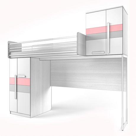 Кровать верхняя Шкаф, со Сплошным ограждением Твист «Олли»