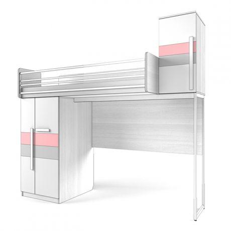 Кровать верхняя малая Шкаф, со Сплошным ограждением Твист «Олли»