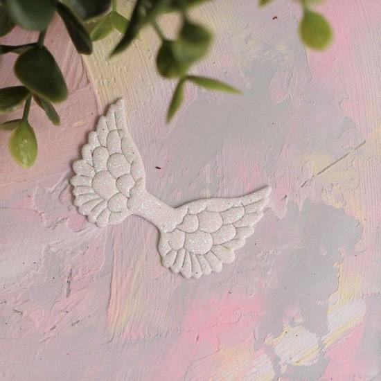 Кукольный аксессуар - Патч белые крылья с блестками, 1шт