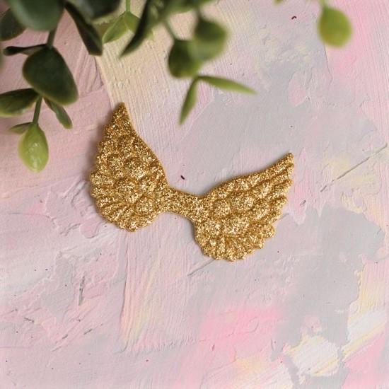 Кукольный аксессуар - Патч золотые крылья с блестками, 1шт