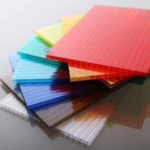 """Сотовый поликарбонат 4мм """"Премиум"""" Плотность:0,64м2.Цвет:добавка """"колотый лед"""" в цветах: желтый, оранжевый, бордовый, красный, синий, зеленый, бирюза, серебристый, молочный. Размер: 2,1*6м"""