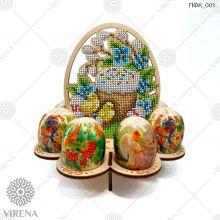 ПФК_001  Virena. Подставка для яиц из дерева для вышивки бисером.