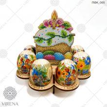 ПФК_005  Virena. Подставка для яиц из дерева для вышивки бисером.