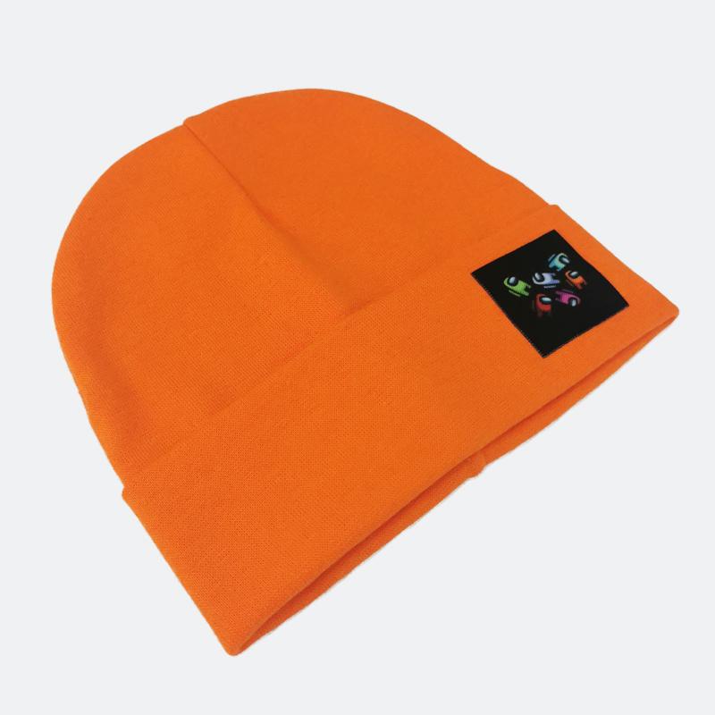 вм1431-38 Шапка трикотажная двойная с отворотом Space неоновая морковь 48