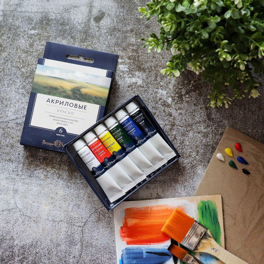 Набор акриловой краски Bruno Visconti, 6 цветов, 12 мл