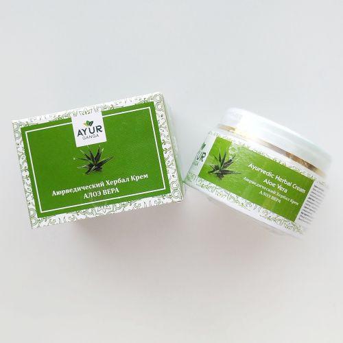 Аюрведический травяной крем дневной Алоэ Вера | Ayurvedic Herbal  Day Cream Aloe Vera | 30 г | AyurGanga