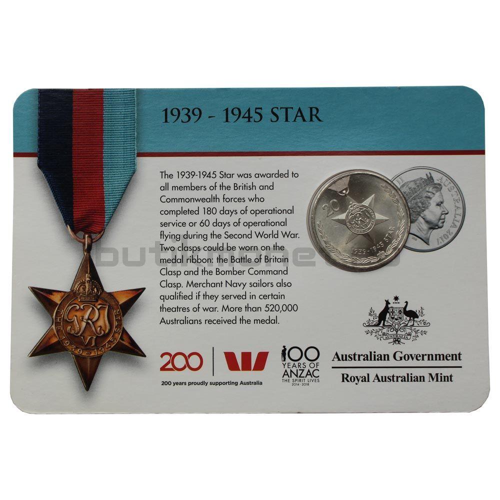 20 центов 2017 Австралия Звезда 1939-1945 (Медали почёта)