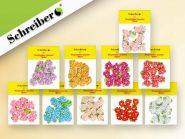 Декоративные текстильные цветочки, 9 шт в пакете, размере пакета 10х14см (арт. S 1065)