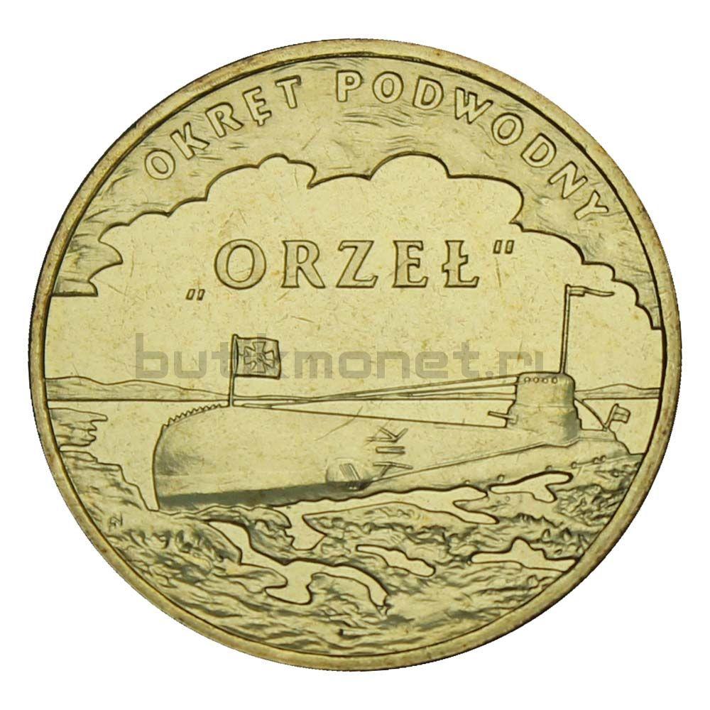 2 злотых 2012 Польша Подводная лодка Орел (Польские суда)