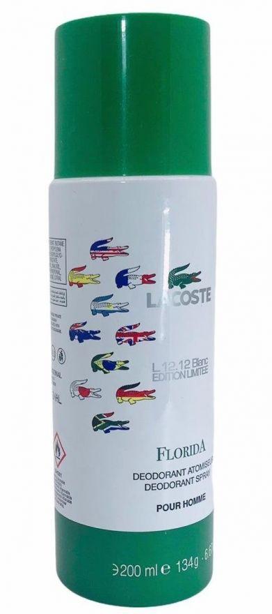 Парфюмированный дезодорант Lacoste L.12.12 Blanc Florida 200 ml (Для мужчин)