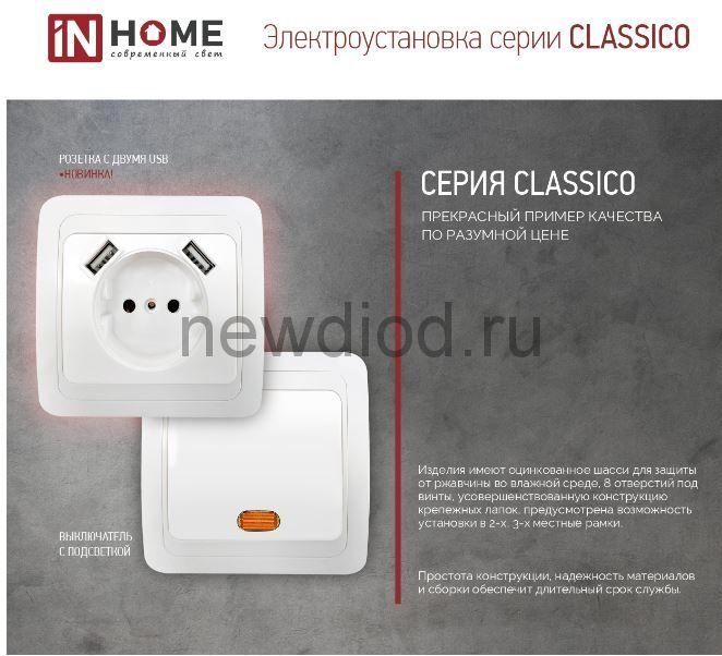 Розетка одинарная с заземлением CLASSICO с двумя USB белая 2047 IN HOME
