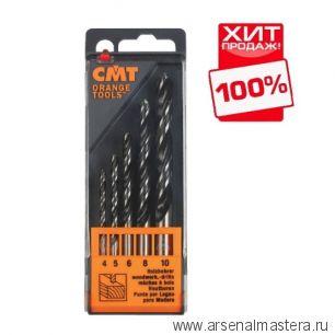 CMT 517.001.01 Комплект износостойких свёрл по дереву с добавлением вольфрама HS (4 флейты) D4-5-6-8-10 RH 5 шт ХИТ!