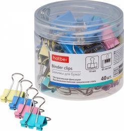 Зажимы для бумаг Hatber 19мм цветные 40 штук в пластиковой тубе