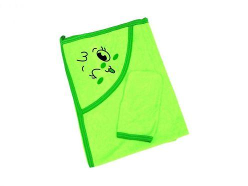 Купальное махровое полотенце с уголком + варежка (зеленый 01889-2)
