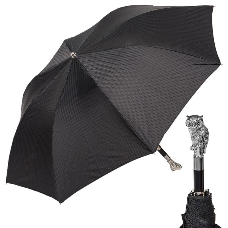 Зонт складной Pasotti Auto Owl Silver Codino Black