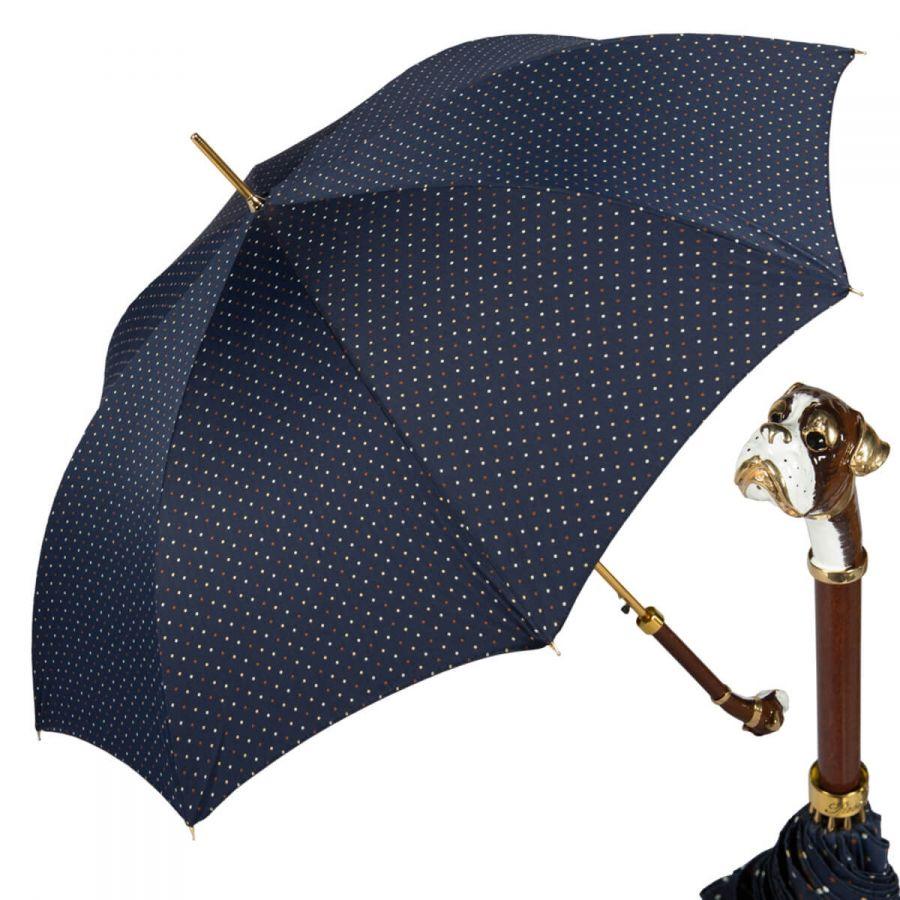 Зонт-трость Pasotti Blu Maple Dots Boxer Lux