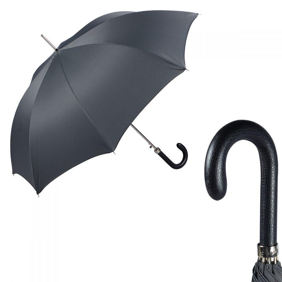 Зонт-трость Pasotti Classic Pelle Chevron Grey