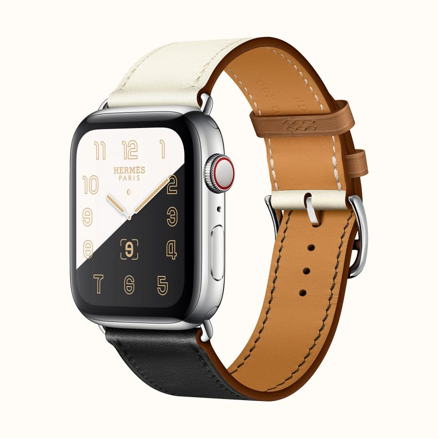 Часы Apple Watch Hermès Series 6 GPS + Cellular 44mm Stainless Steel Case (Silver) with Black/White/Gold Swift Calfskin Single Tour