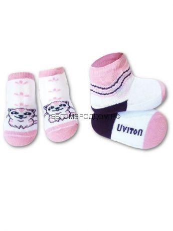 Набор носочков Kitty бел/роз 0-6мес./ Uviton
