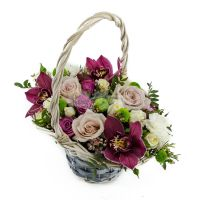 Корзинка комплимент с орхидеей с выбором цвета орхидеи
