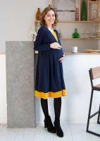 """Платье """"Марми"""" с отрезной кокеткой для кормления джерси синий/горчица"""