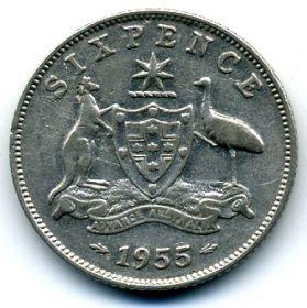 Австралия 6 пенсов 1955