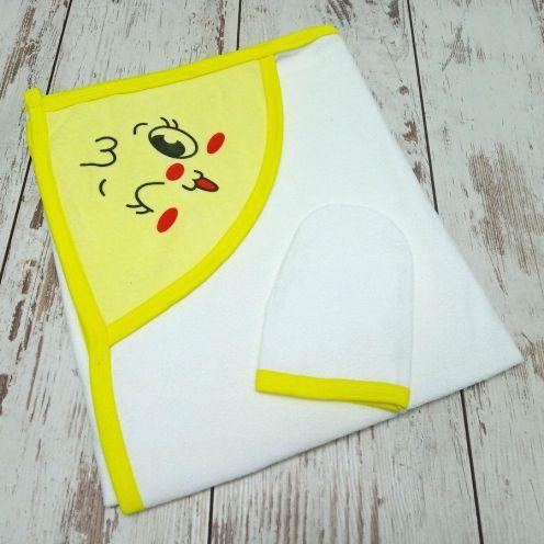 Купальное махровое полотенце с уголком + варежка, цвет желтый
