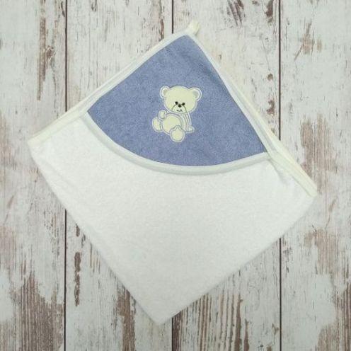 Купальное махровое полотенце с серым уголком, вышивка мишка