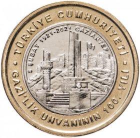 100 лет присвоения Газиантепу титула «Гази» («Победитель»)1 лира Турция 2021