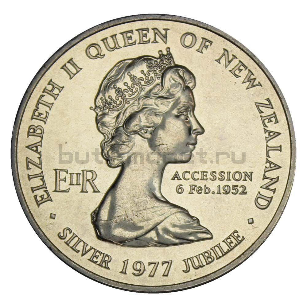 1 доллар 1977 Новая Зеландия 25 лет правления Королевы Елизаветы II и День Вайтанги