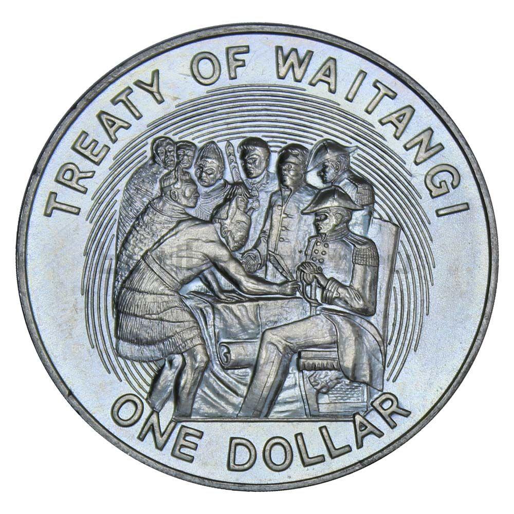1 доллар 1990 Новая Зеландия 150 лет подписанию Договора Вайтанги