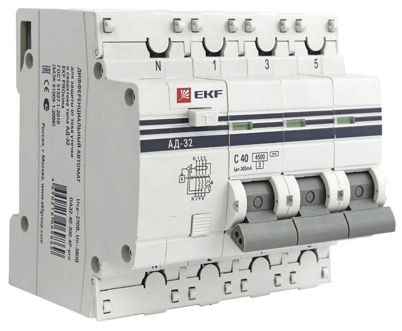 Дифференциальный автомат АД-32 (селективный) 3P+N 50А/300мА EKF PROxima