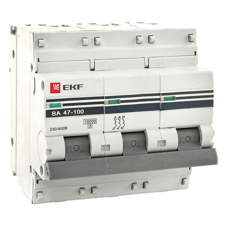 EKF Автоматический выключатель ВА47-100, 3P 100А (D) 10kA EKF PROxima