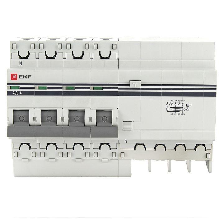 Дифференциальный автомат АД-4 16А/30мА (хар. C, AC, электронный, защита 270В) 4,5кА EKF PROxima