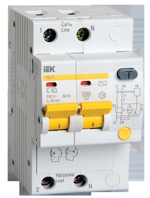 Дифференциальный автоматический выключатель IEK MAD10-2-006-C-010