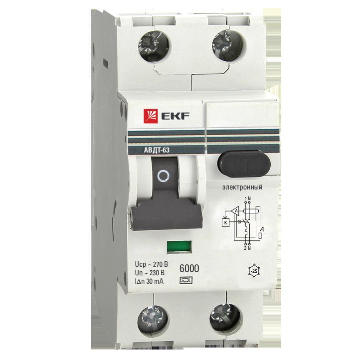 EKF PROxima автомат. выкл. диф. тока АВДТ-63 10А/30мА (хар-ка C, эл. УЗО типа A) 6кА  DA63-10-30e