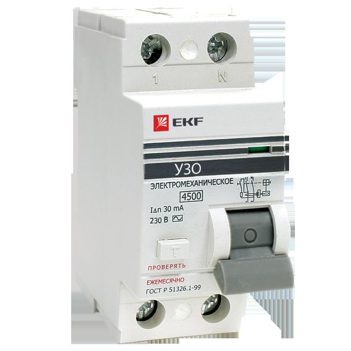 EKF PROxima устройство защитного отключения УЗО 2P 25А/30мА (электромех.) 4,5кА elcb-2-25-30-em-pro